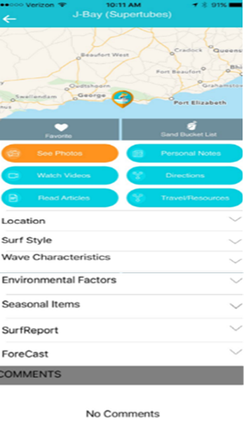 surf spot page with pictures videos