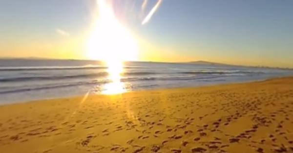 bolsa chica surf spot, sunset beach, footprints in the sand