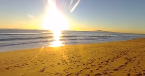 bolsa chica surf spot, sunset beach, footprints in the sand