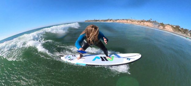 Surfing on an inflatable surfboard